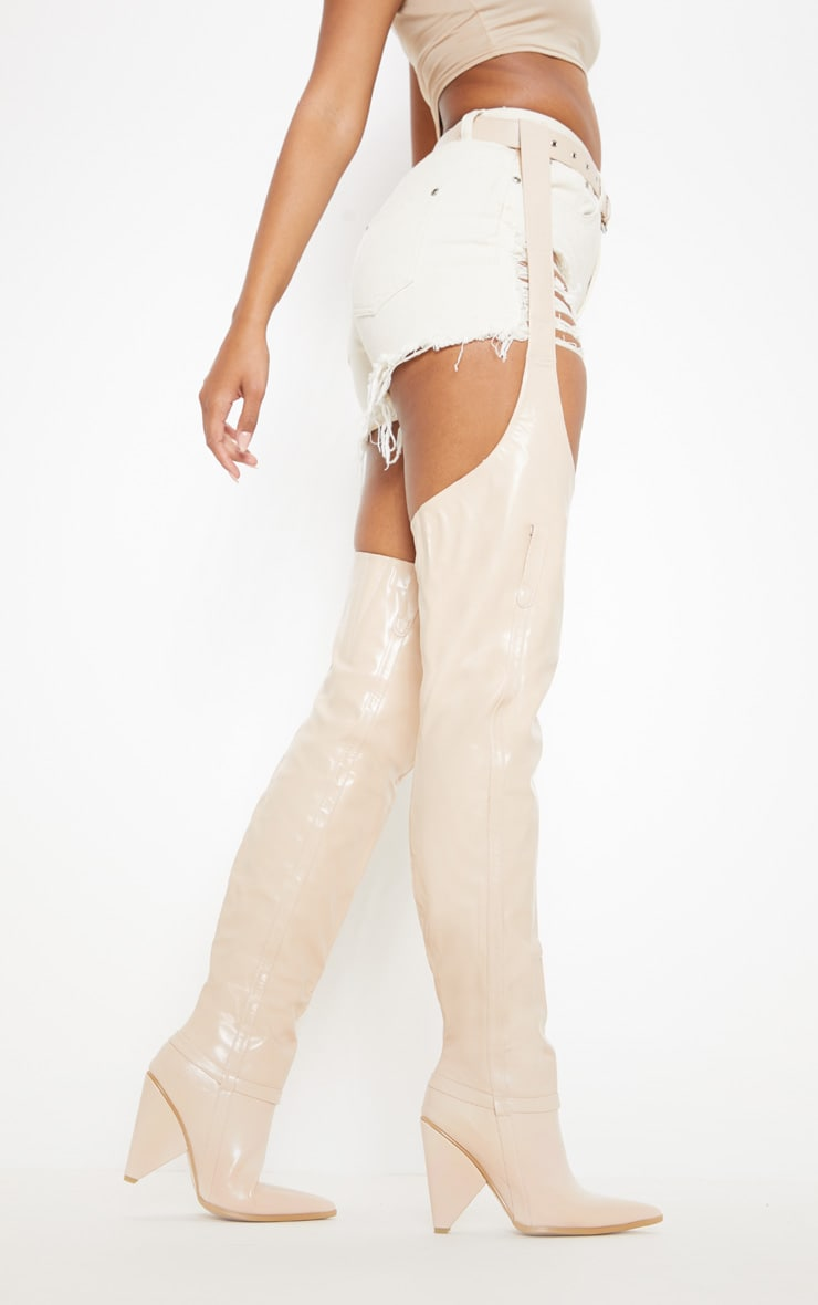 Nude Belted Thigh High Western Boot 2