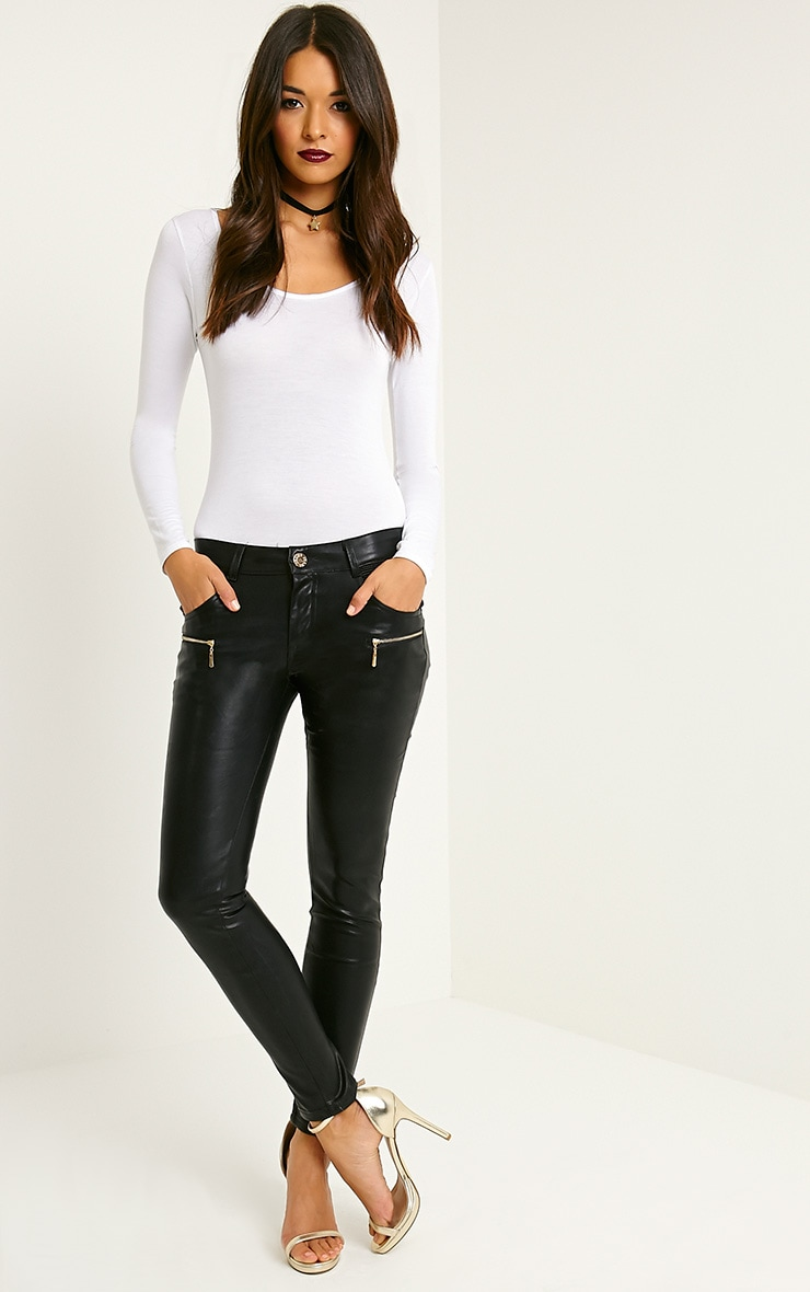 Madden Black Zip Pocket PU Trousers 1