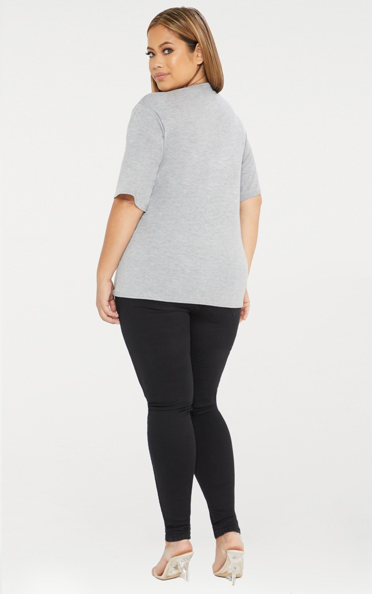 Plus Grey Marl Basic V Neck T Shirt 2