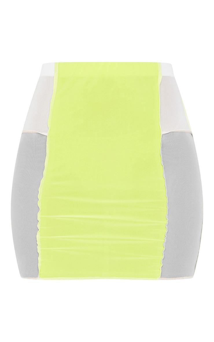 Lime Slinky Panelled Mini Skirt 6