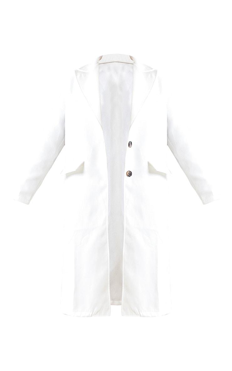 Cream Wool Pointed Collar Pocket Front Midi Coat 5
