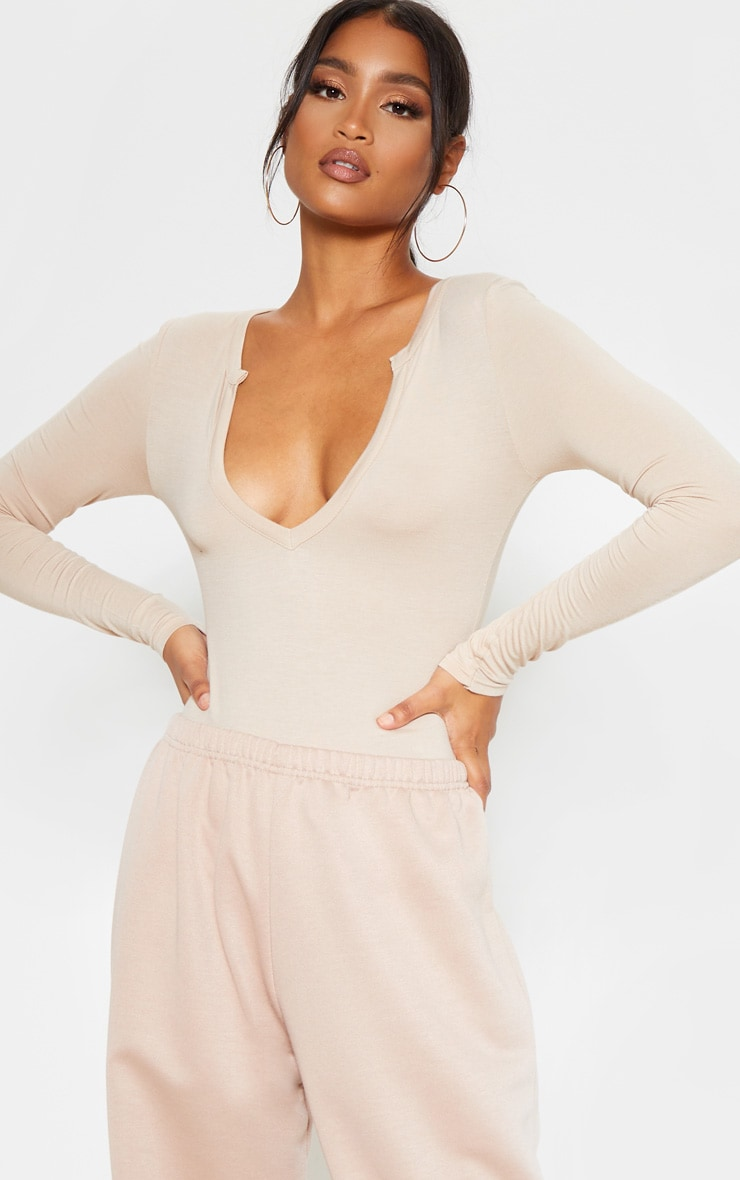 Sand Basic Plunge Long Sleeve Bodysuit 1