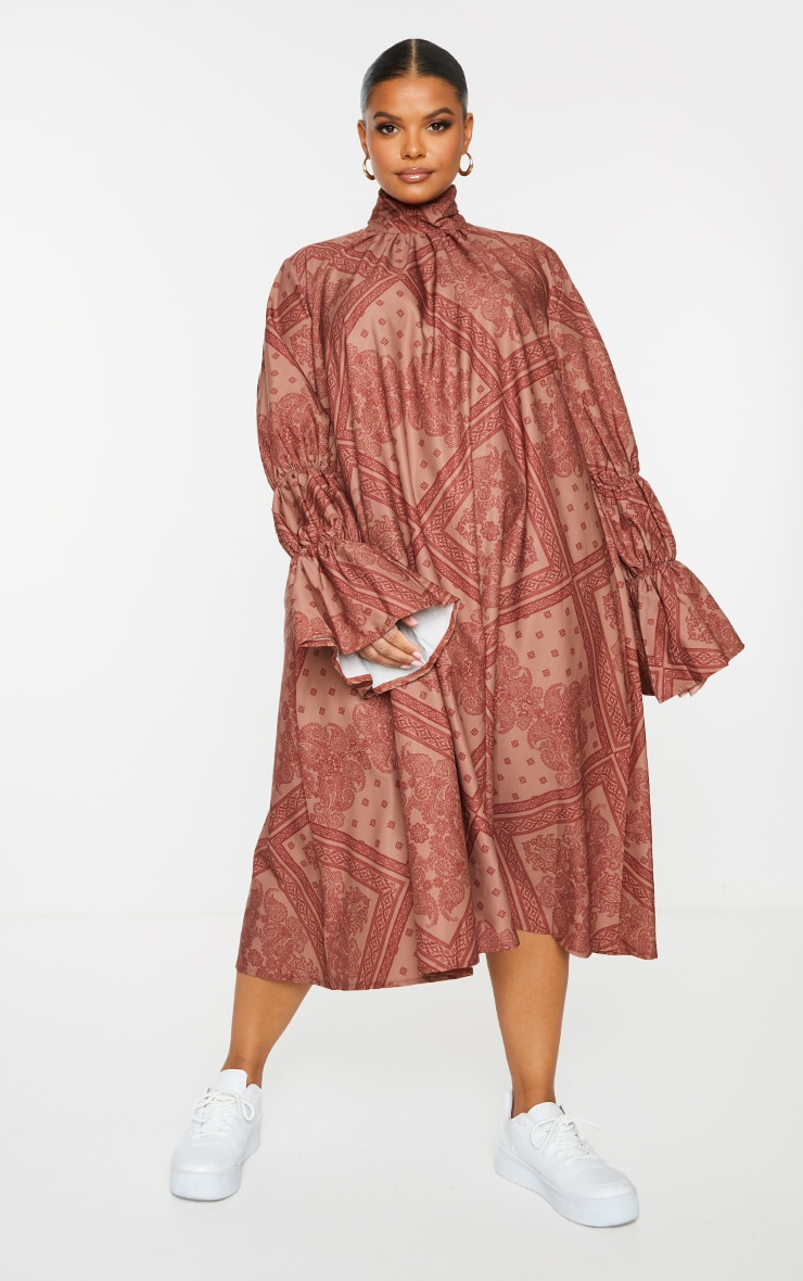 Plus Rust Printed High Neck Puff Sleeve Dress 1