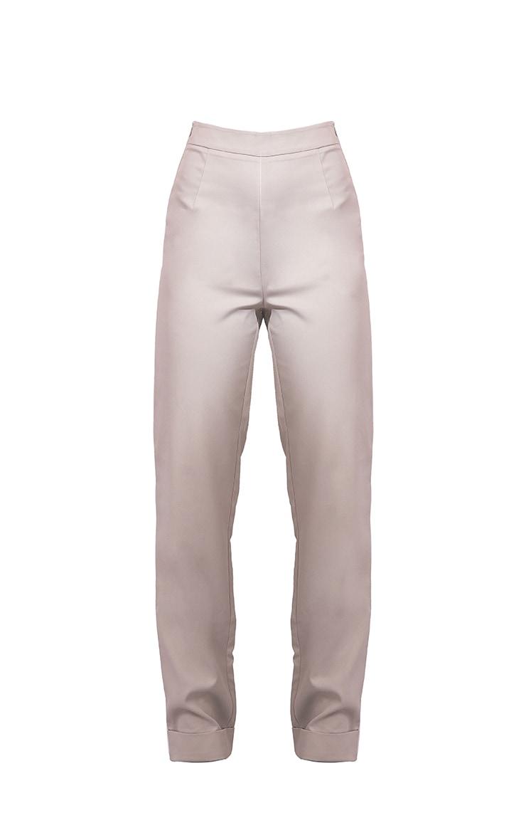 Light Grey Woven Turn Up Hem Straight Leg Trousers 5