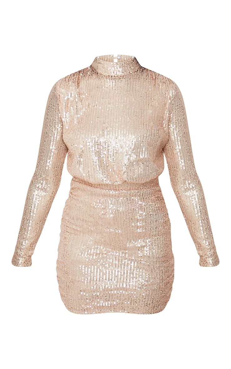 Rose Gold Sequin High Neck Open Back Gathered Skirt Bodycon Dress 6