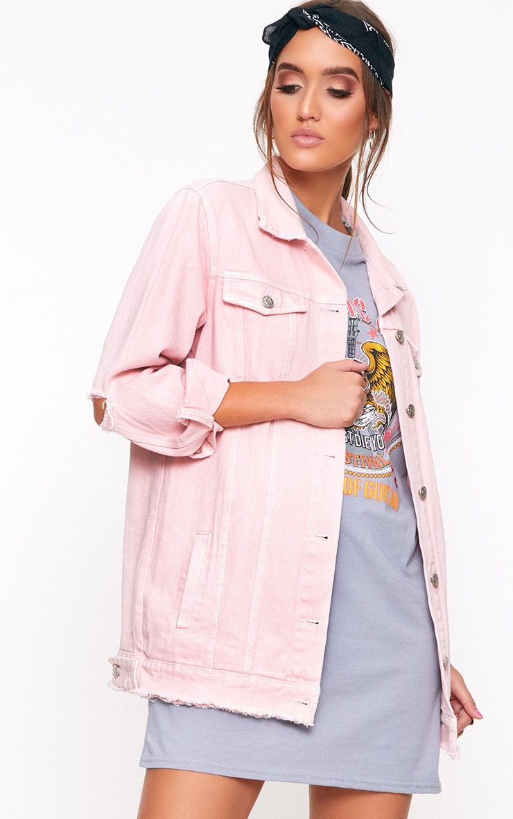 Light Pink Elbow Rip Denim Jacket 1