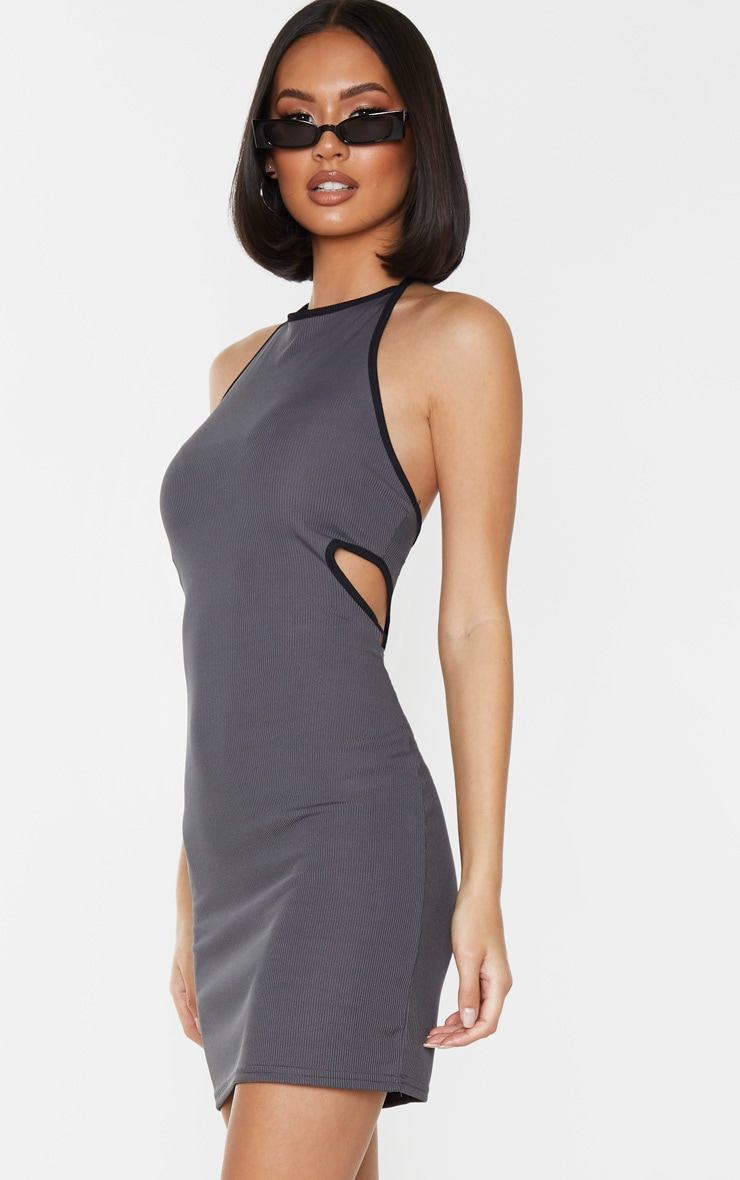 Grey Rib Contrast Trim Halterneck Cut Out Waist Bodycon Dress 1
