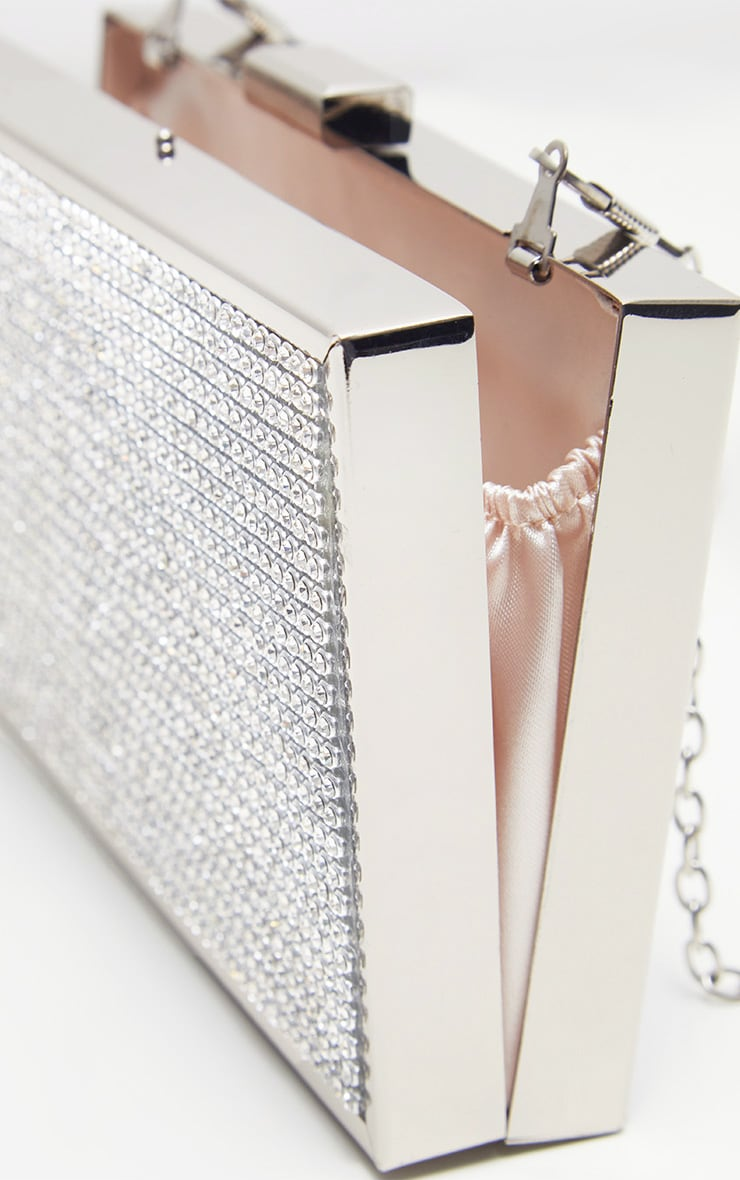 Silver Diamante Box Clutch 4