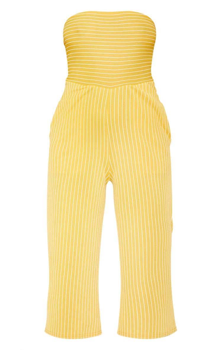 Mustard Pinstripe Bandeau Culotte Jumpsuit 3