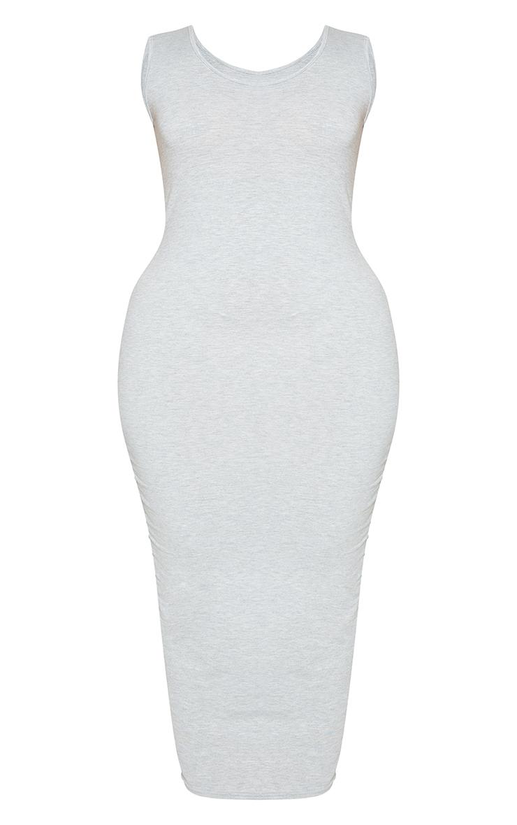 Plus Grey Marl Jersey Scoop Neck Midaxi Dress 5