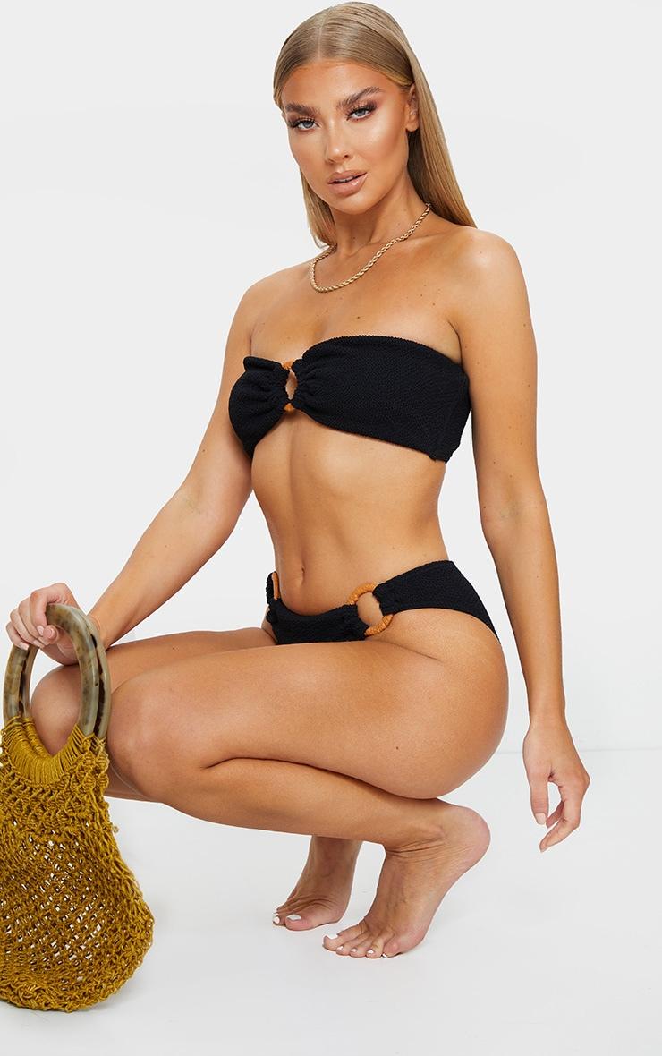 Black Ring Middle Crinkle Bikini Top 3