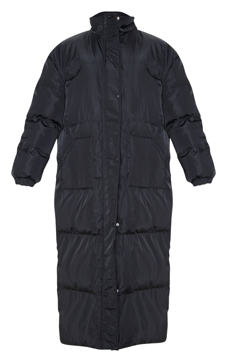 Tall Black Longline Puffer Coat 3