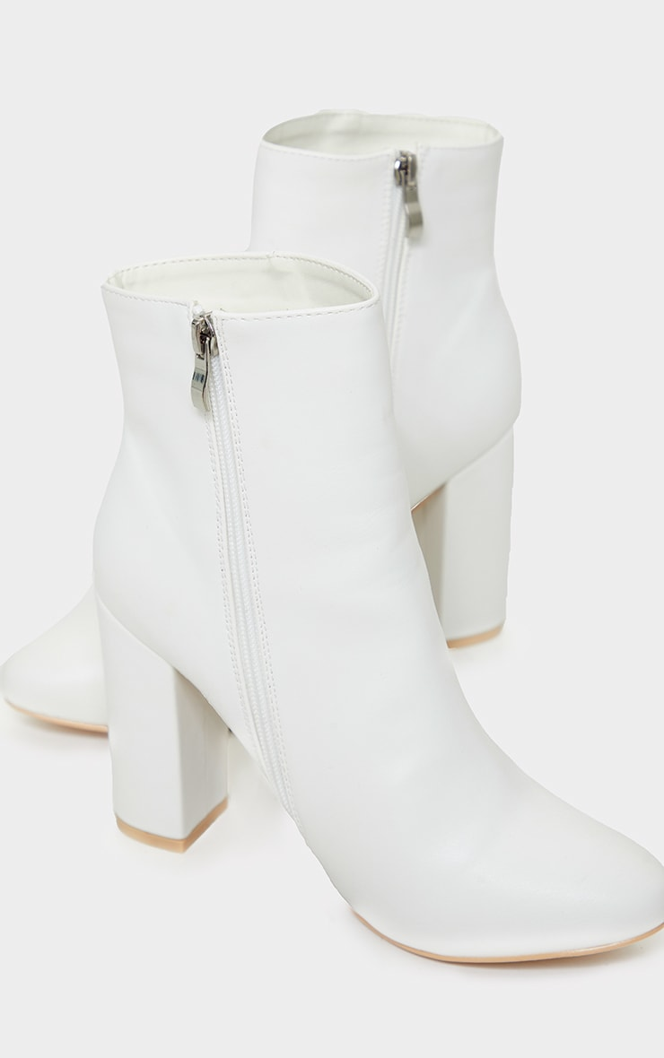 Behati White Faux Leather Ankle Boot 1