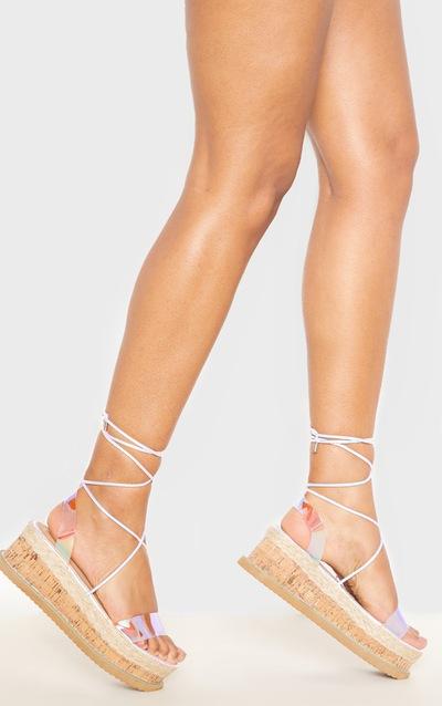 e1fce91e088 Clear Strap Holographic Niella Platform Sandal