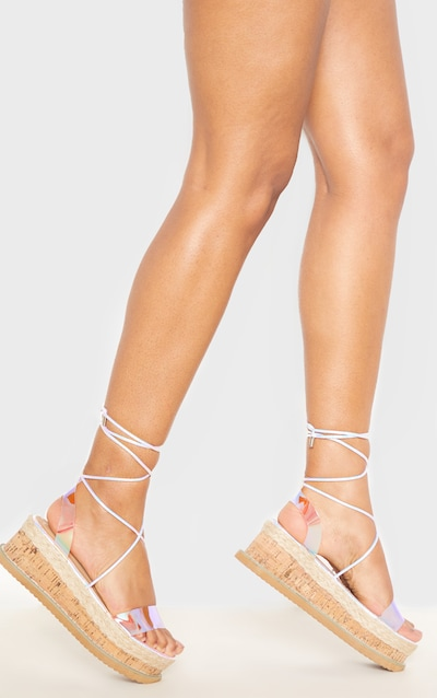 Clear Strap Holographic Niella Platform Sandal