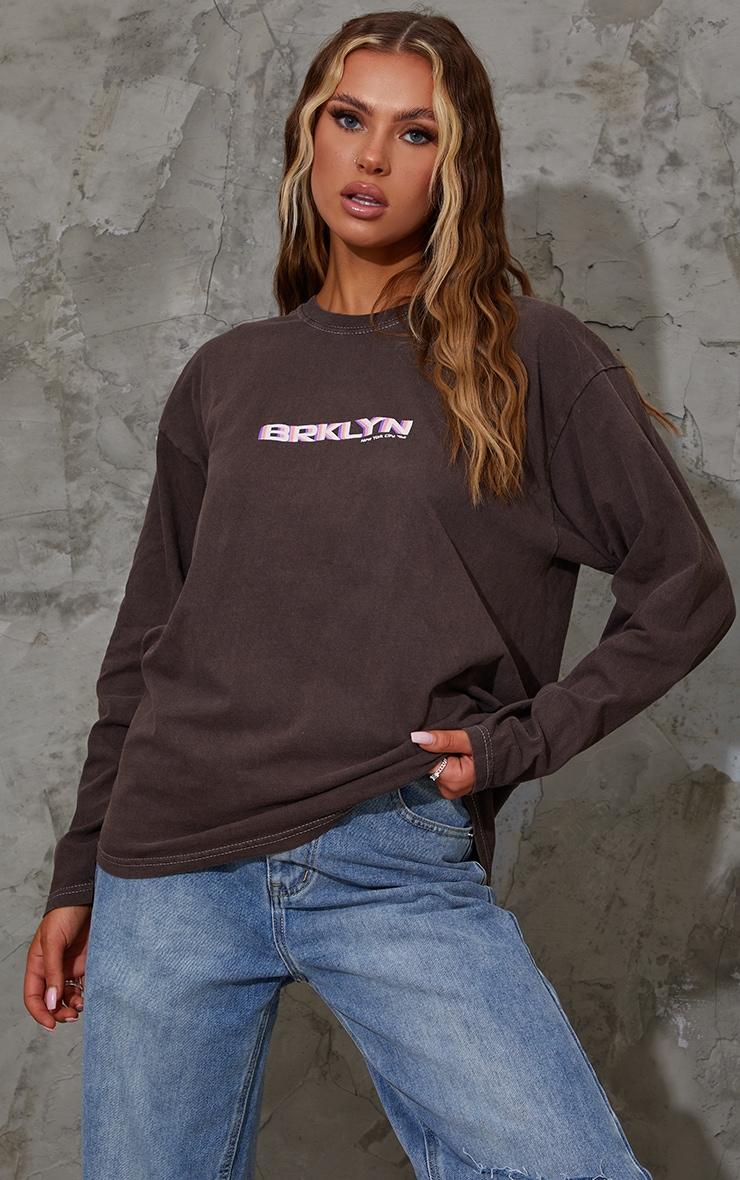 Chocolate Print Oversized Washed Long Sleeve T Shirt 2