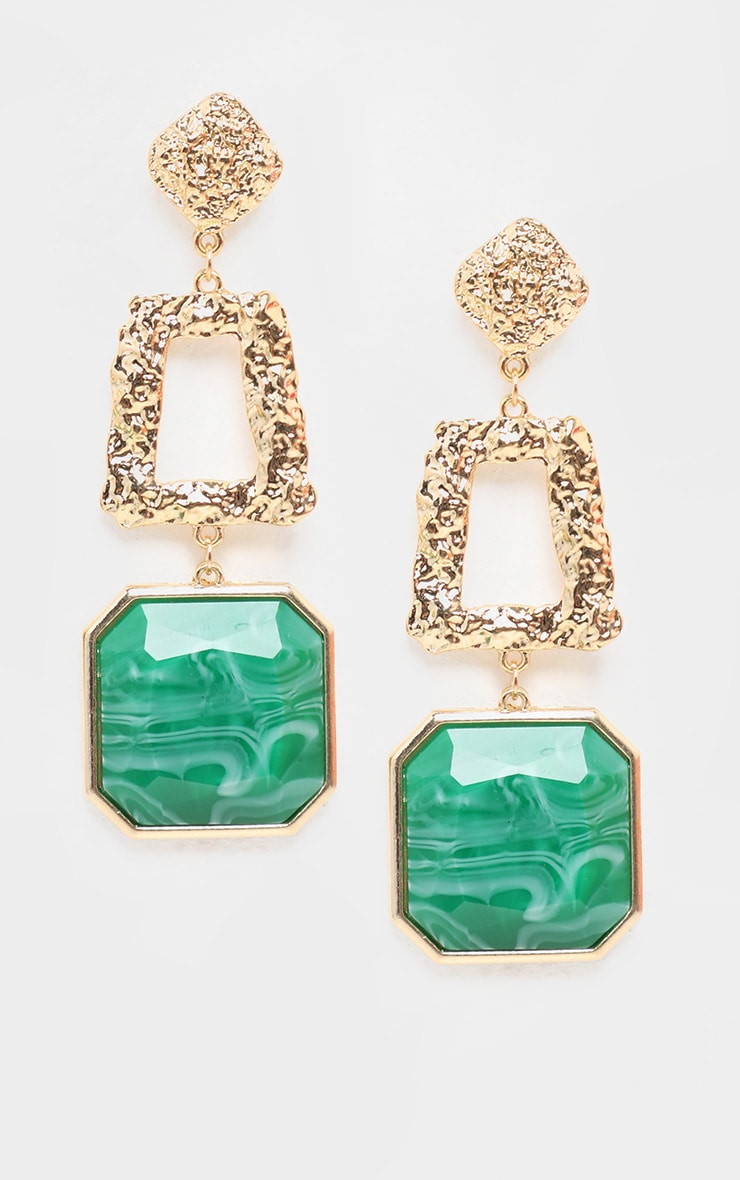 Green Square Stone Door Knocker Earrings 1