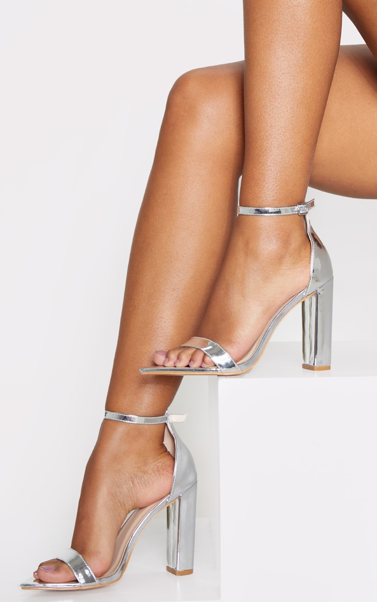 Silver Point Toe Block Heel Strappy Sandal  2