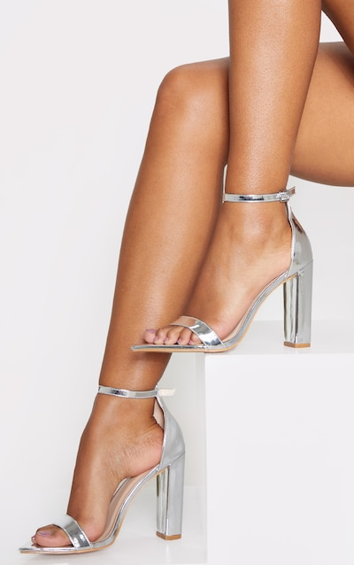 Silver Point Toe Block Heel Strappy Sandal