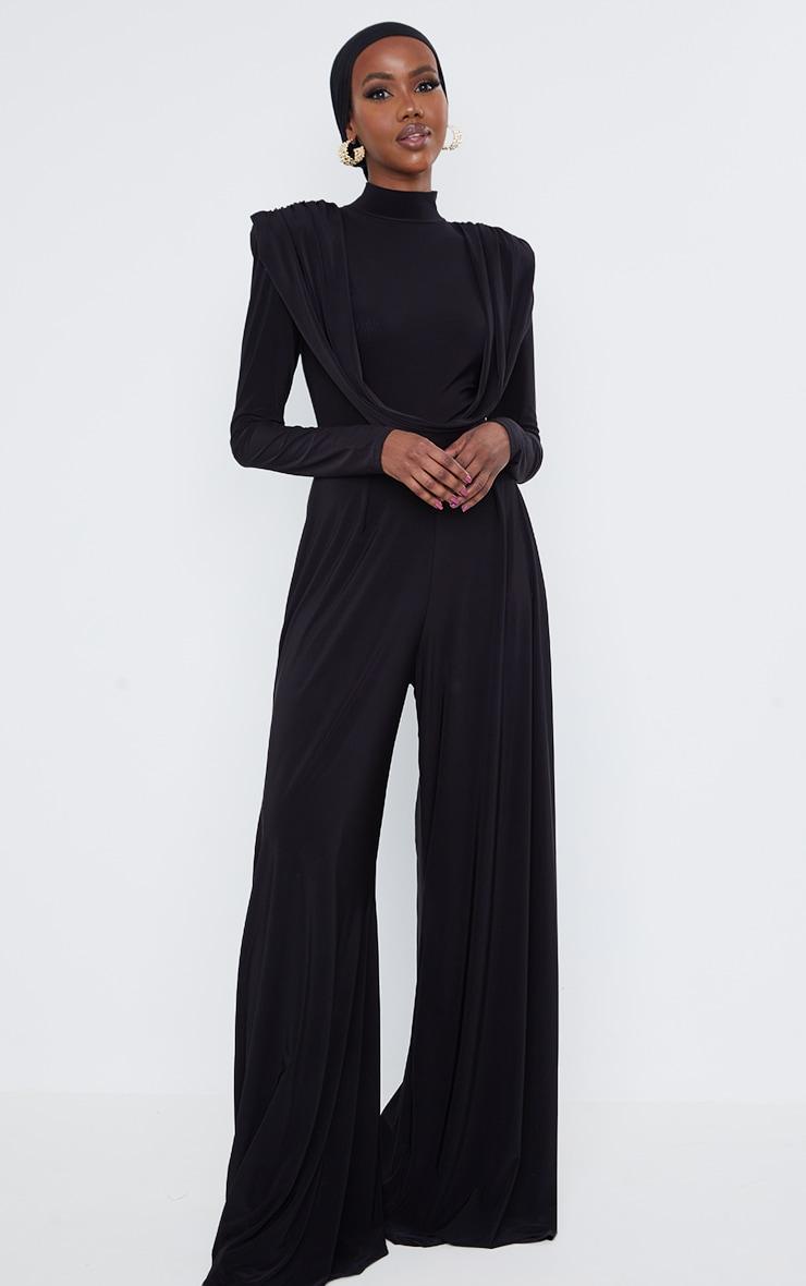Black Slinky Drape Detail Pleated Wide Leg Jumpsuit 1