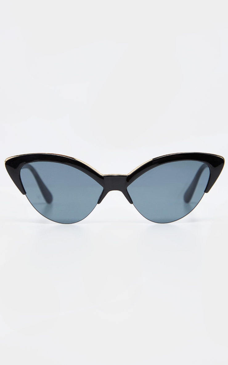 Black Frame Gold Metal Edge Pointed Cat Eye Sunglasses        2