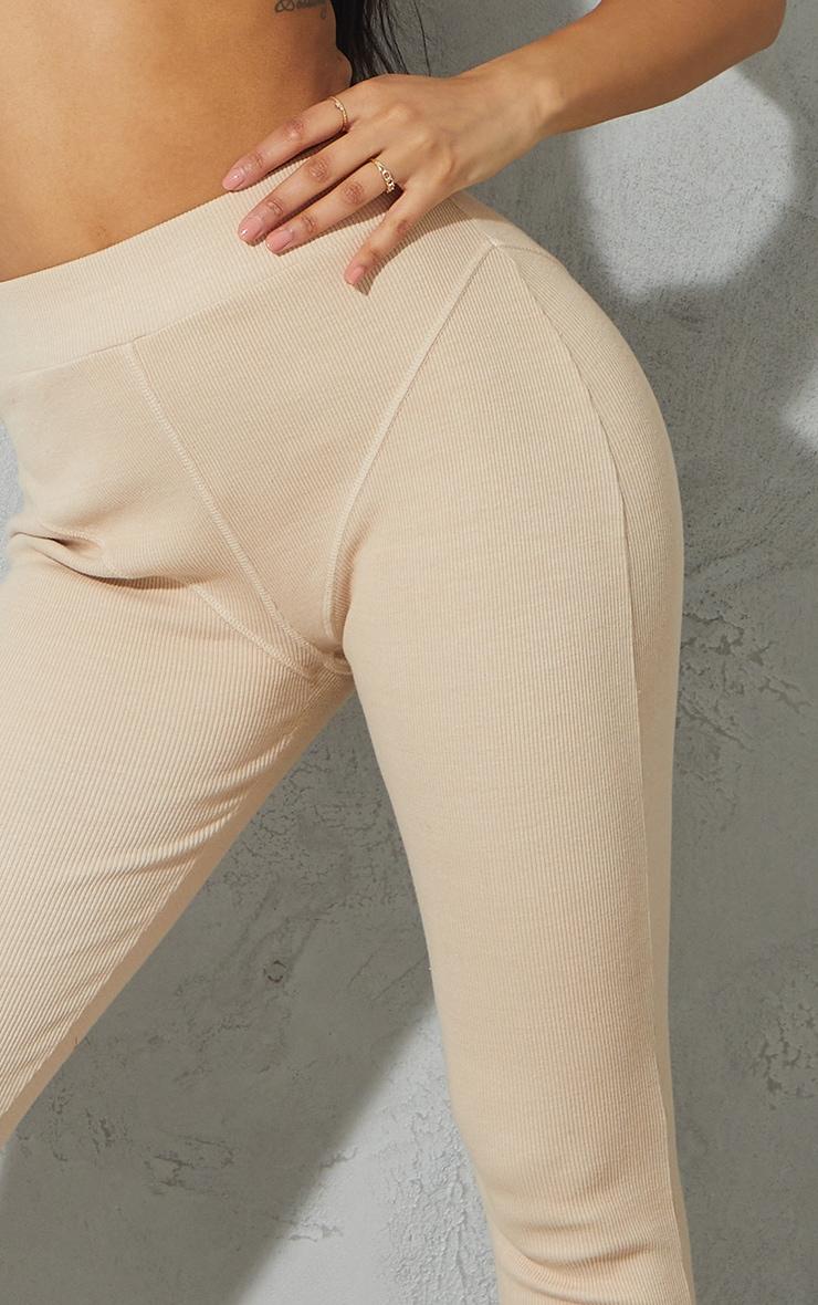 Beige Seam Detail Heavy Rib Leggings 4
