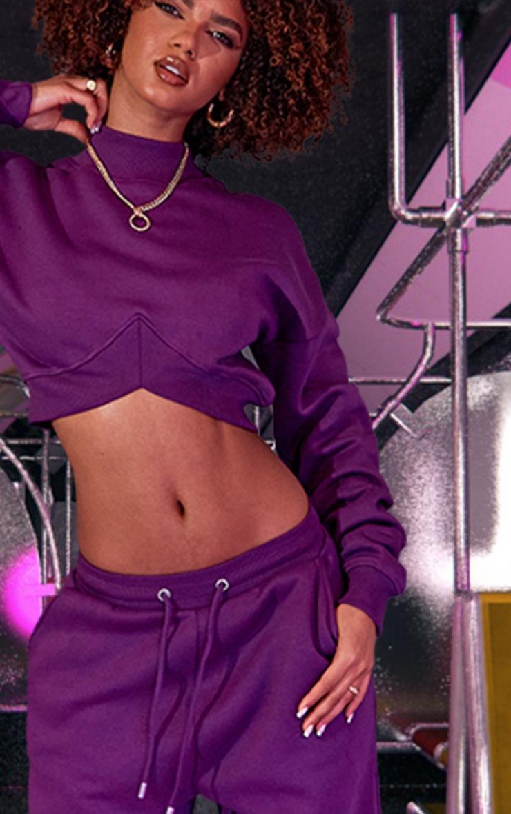 Purple High Neck Crop Sweatshirt 5