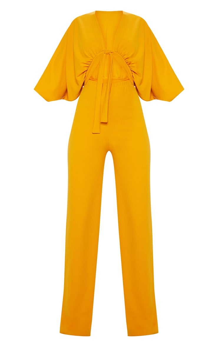 Mustard Crepe Batwing Cut Out Jumpsuit 3