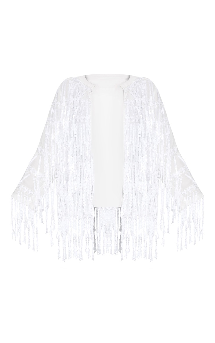 Plus White Sequin Fringed Jacket 3