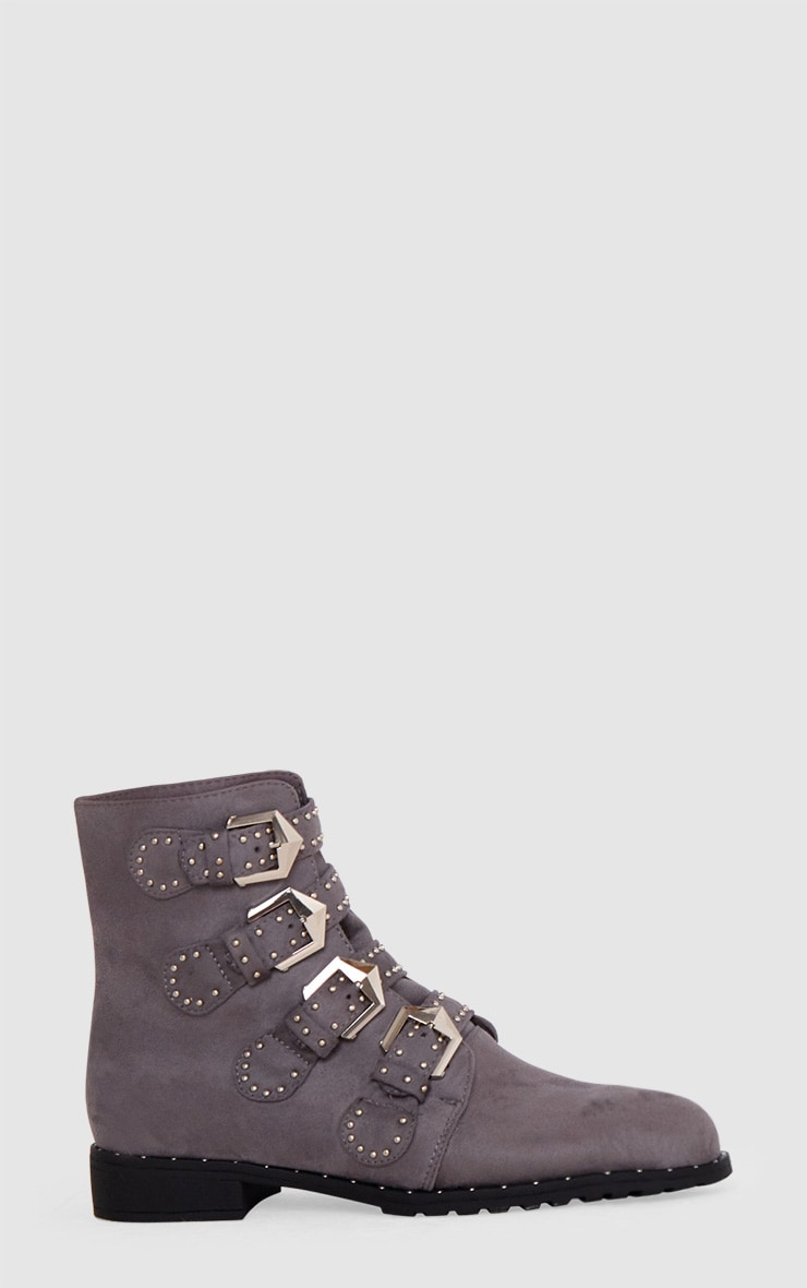 Grey PU Studded Buckle Ankle Boots  3