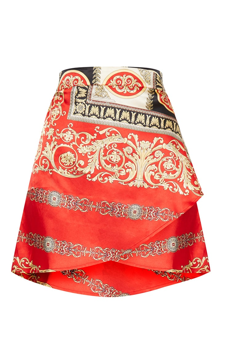Red Satin Scarf Print Wrap Tie Mini Skirt 3