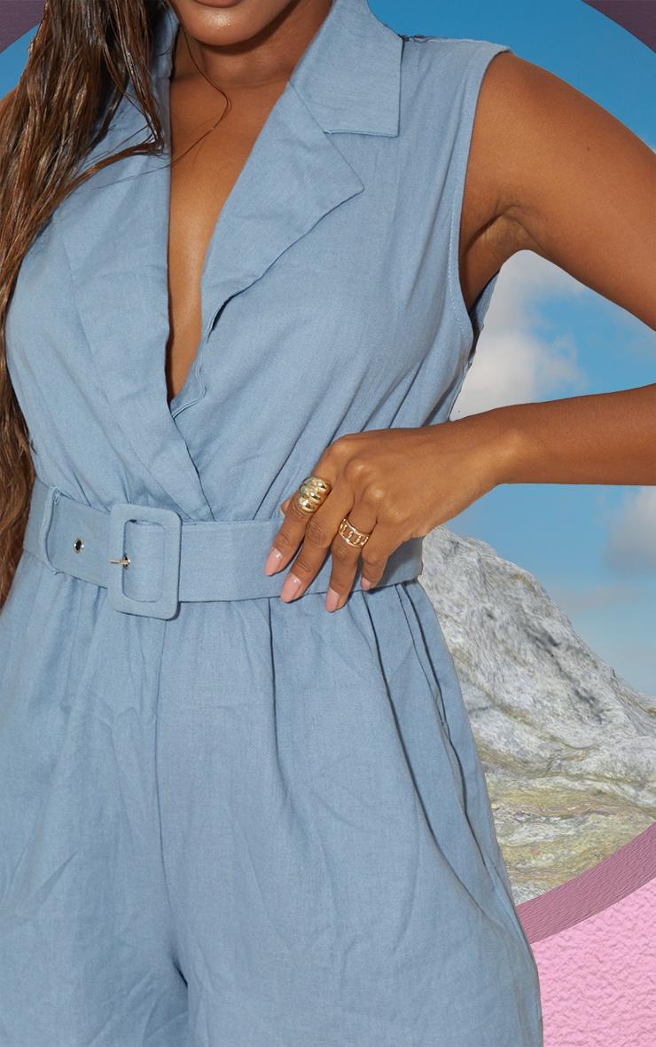 Baby Blue Sleeveless Wrap Belt Detail Romper 4