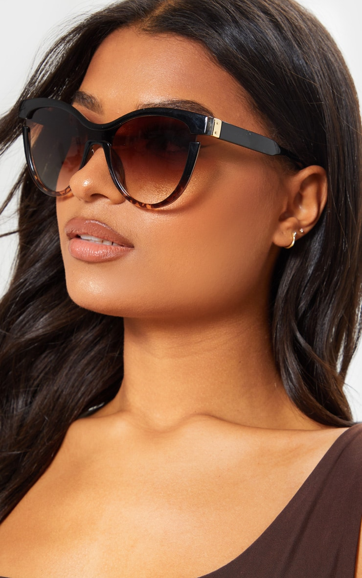 Black Oversized Cat Eye Tortoiseshell Sunglasses 1