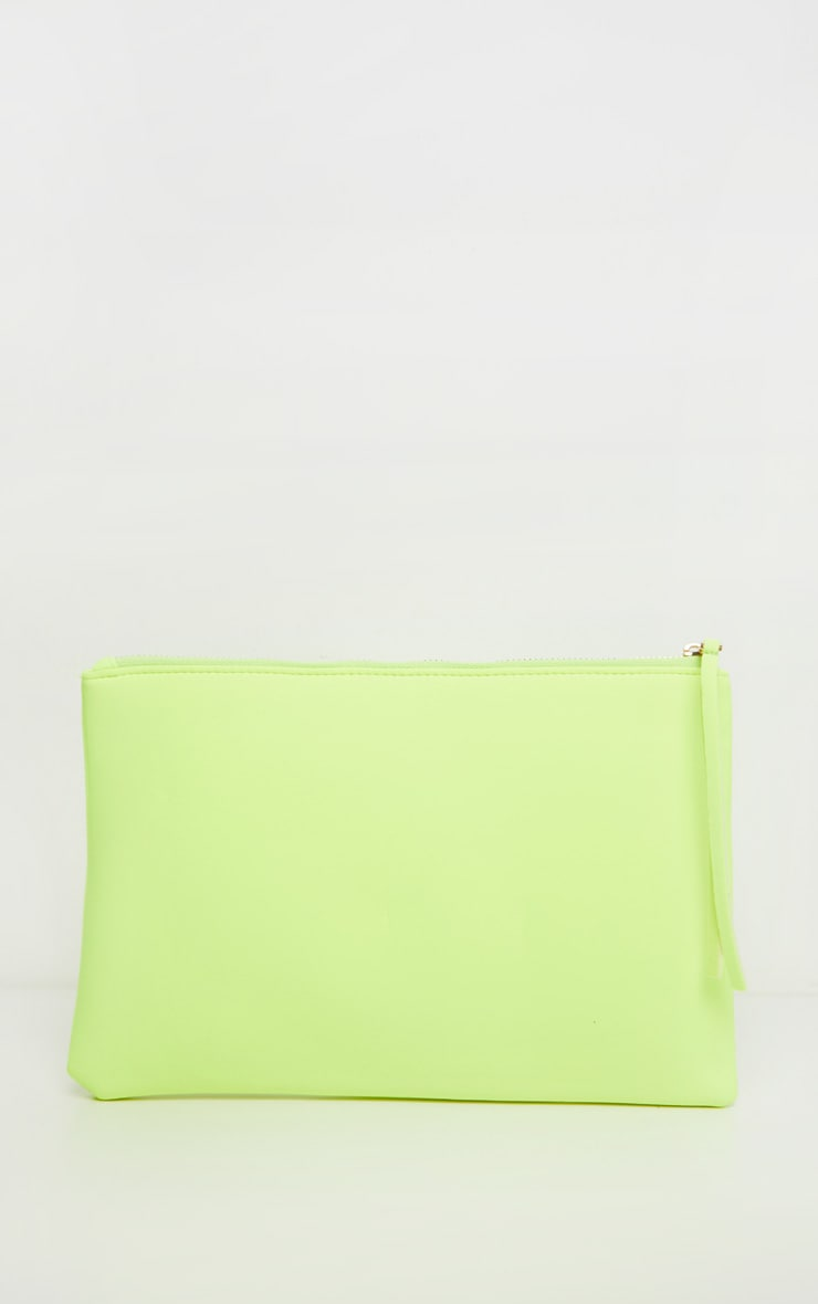 Neon Yellow Clutch Bag 2