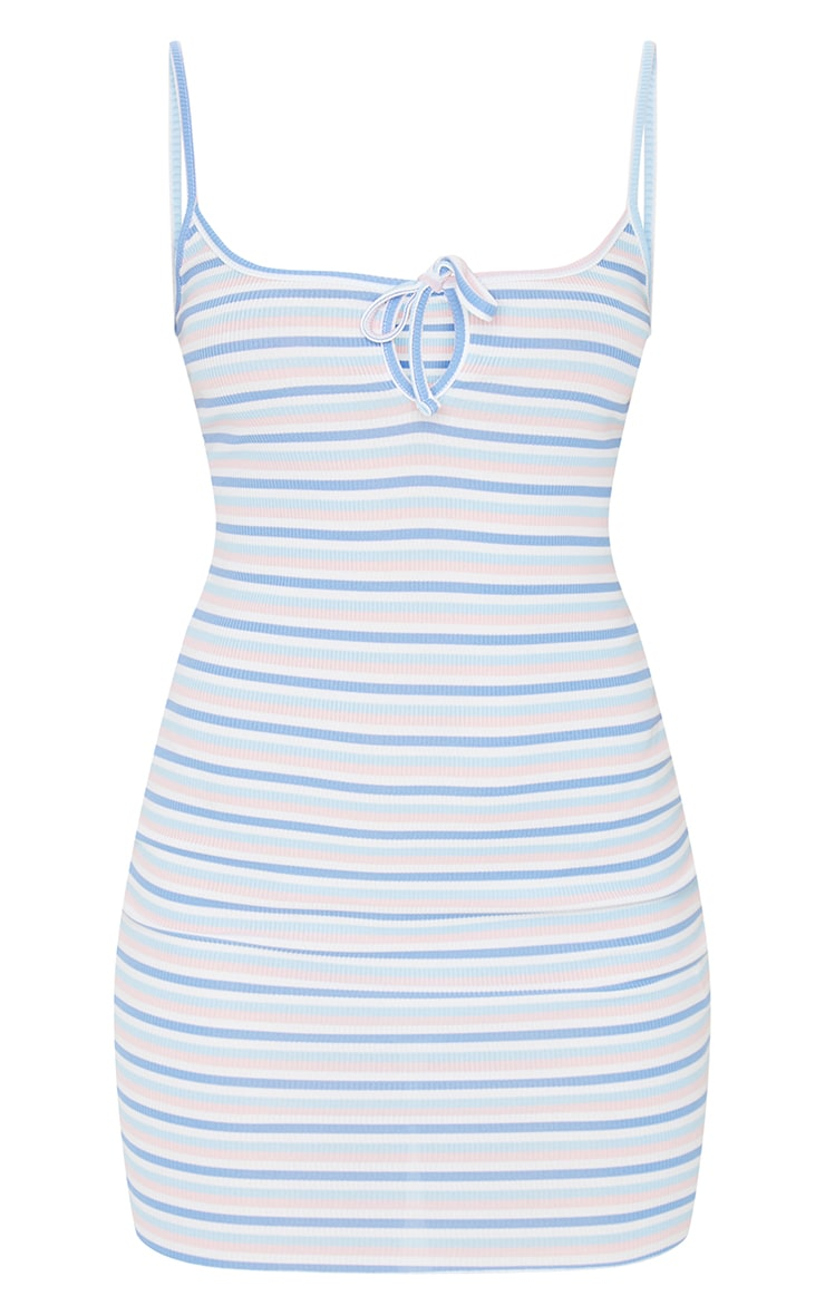 Multi Stripe Tie Bust Strappy Rib Bodycon Dress 5