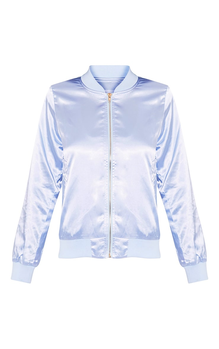 Finnie Baby Blue Satin Dreamer Bomber Jacket 3