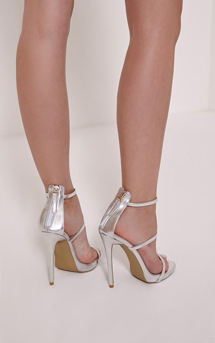 Asara Silver Metallic Heeled Sandals 2
