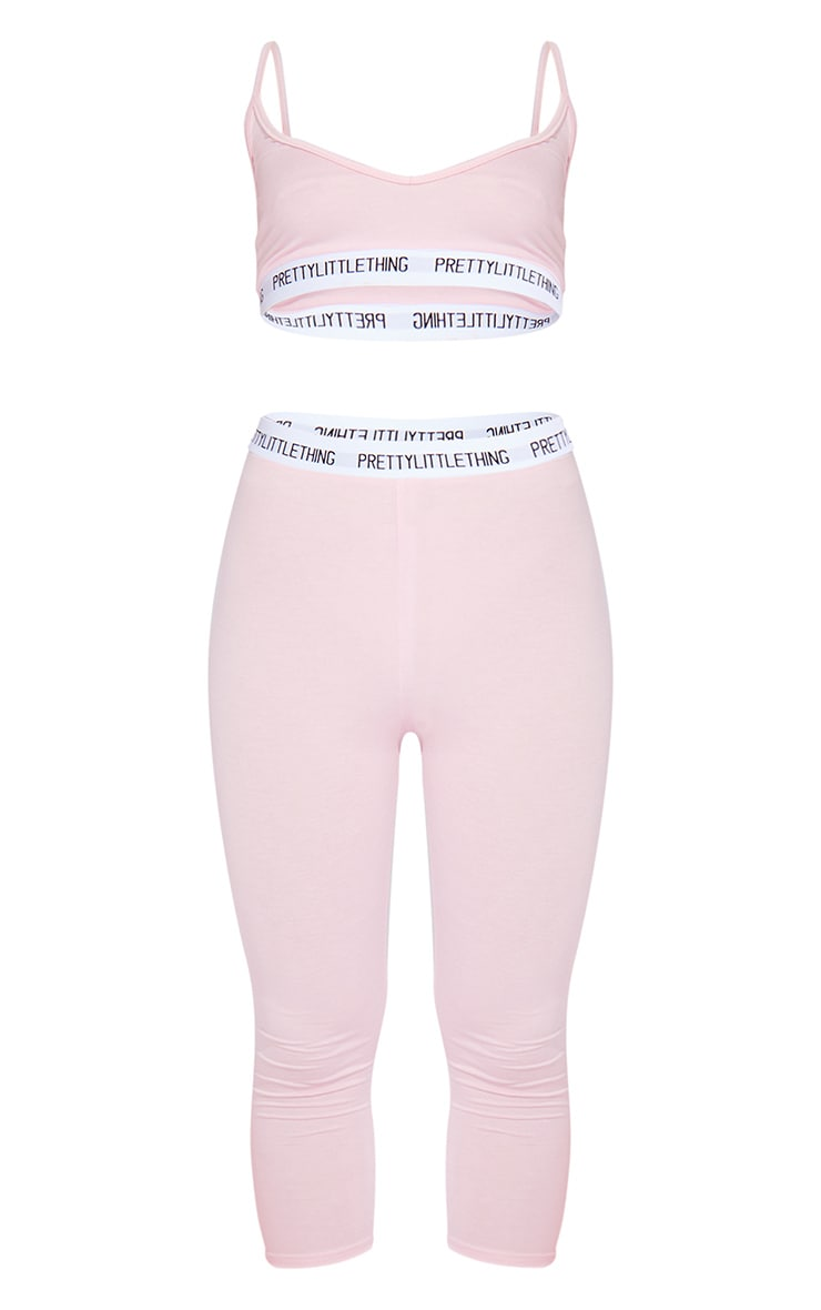 PRETTYLITTLETHING Baby Pink Bralet And Crop Legging Set 5