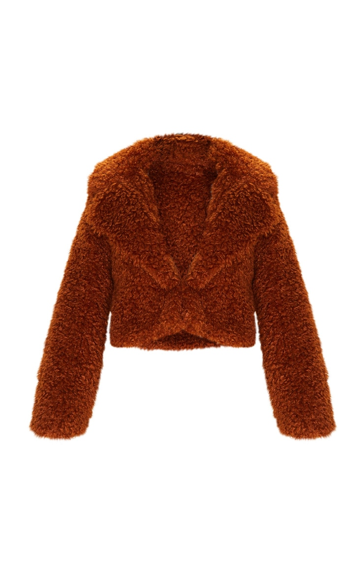 Brown Cropped Teddy Faux Fur Coat  3