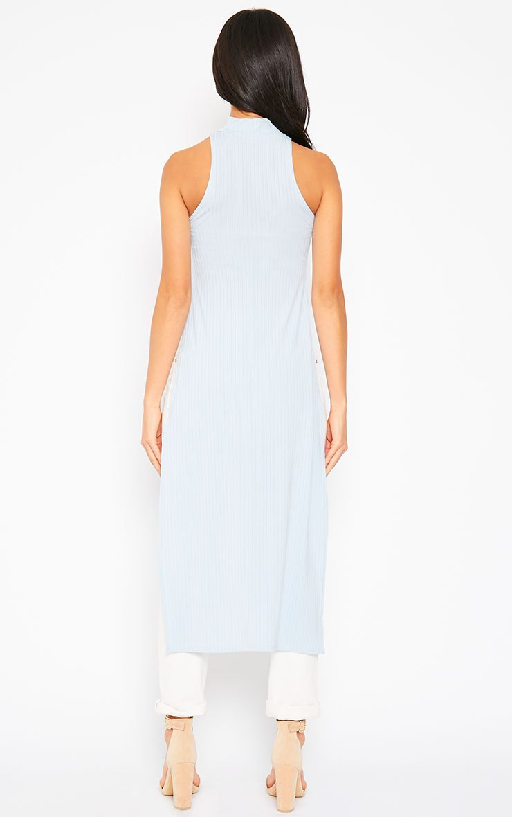 Aaralyn Powder Blue Ribbed Side Split Dress 2