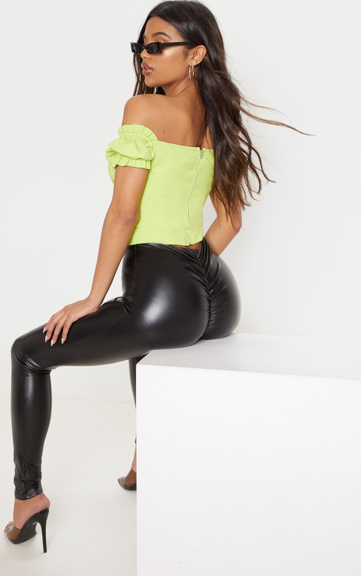 Black Faux Leather Ruched Bum Legging 1