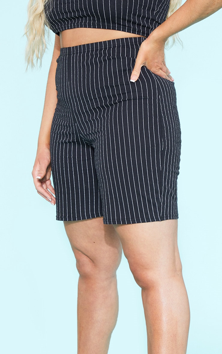 RECYCLED Plus Black Pinstripe Cycle Shorts 5