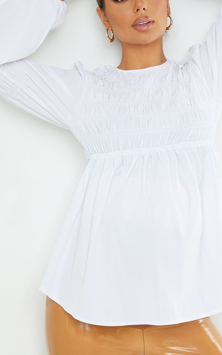 Maternity White Shirred Detail Blouse 4