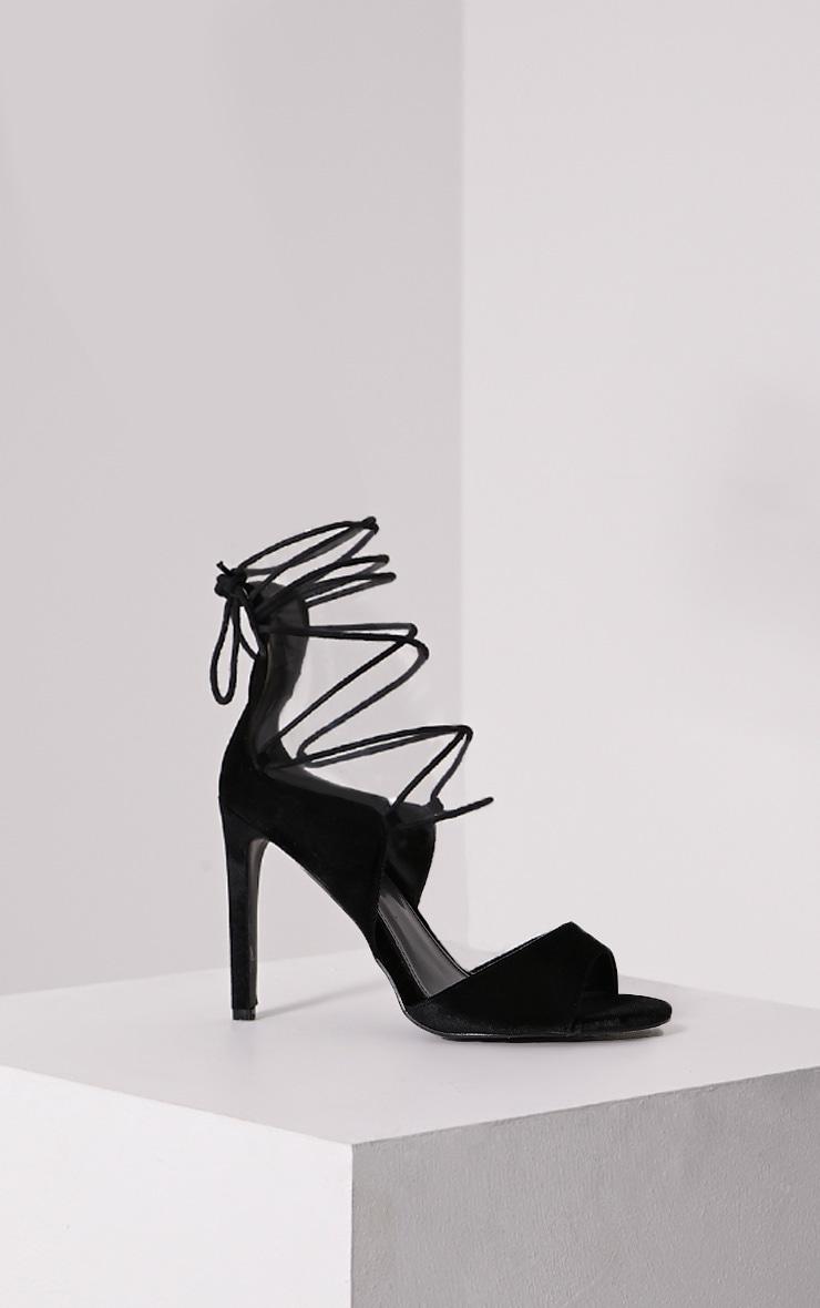 Heidey Black Velvet Lace Up Heels 3