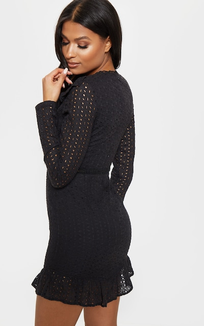 Black Broderie Anglaise Frill Collar Shift Dress