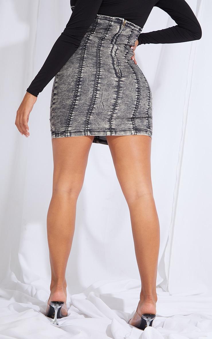 Shape Black Acid Wash Hook And Eye Underbust Detail Denim Skirt 3