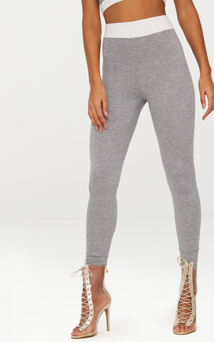 Grey Contrast Waist Band Leggings  2
