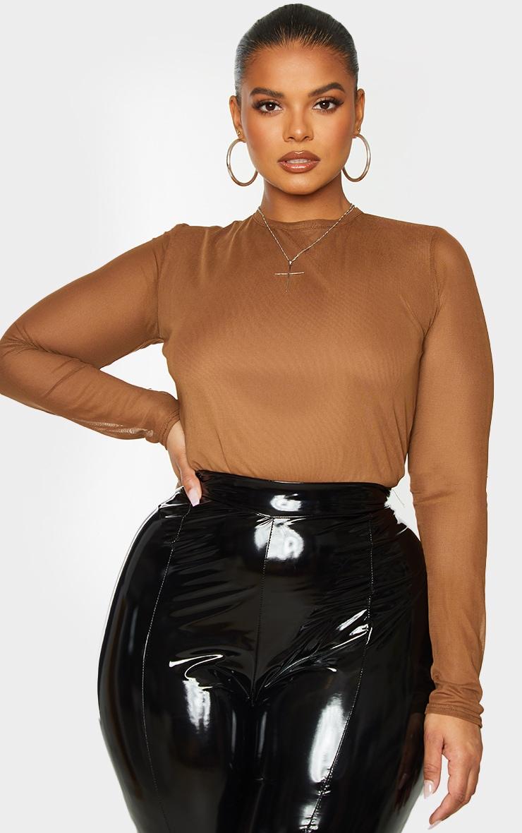 Plus Chocolate Brown Mesh Cut Out Back Bodysuit 1