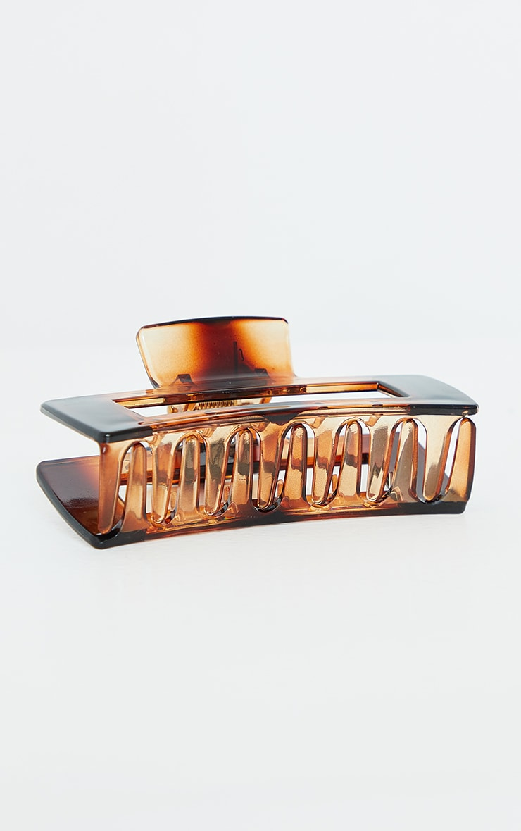 Tortoise Oversized Rectangle Cut Out Hair Clip 3