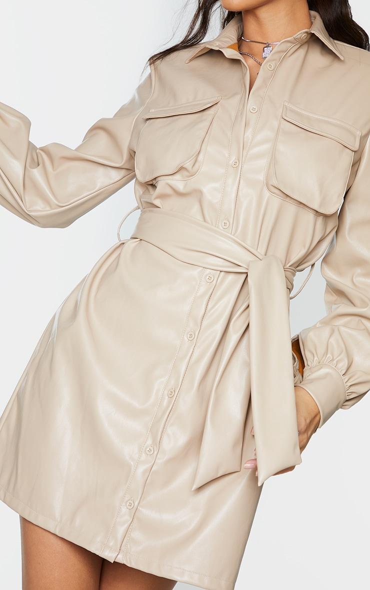 Stone Faux Leather Pocket Detail Shirt Dress 4